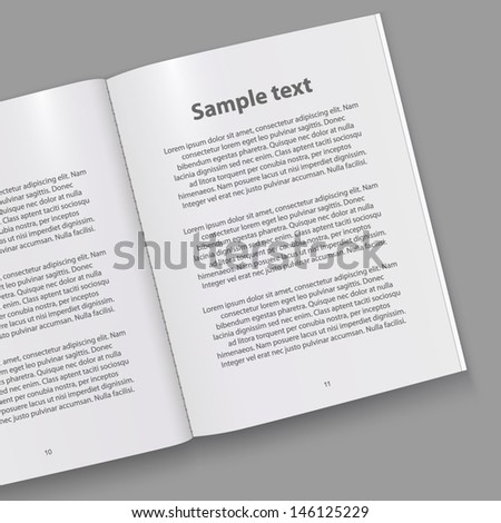 Open paper book with text - stock vector