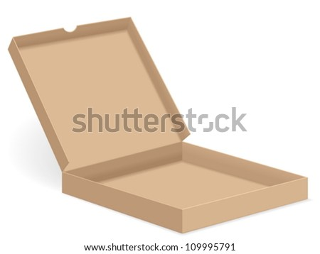 Open paper pizza box on white background. Vector illustration.
