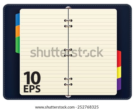 Open personal organizer, isolated. Vector illustration - stock vector