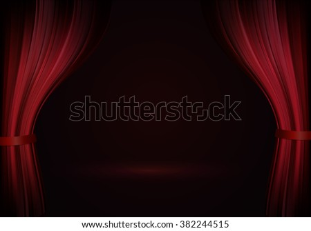 Open red curtain in vector. Theater red scene for announcement - stock vector