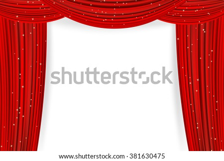 Open red curtains with stars on white background. Theater or movie presentation or cinema award announcement with space for text. vector template for Your design - stock vector