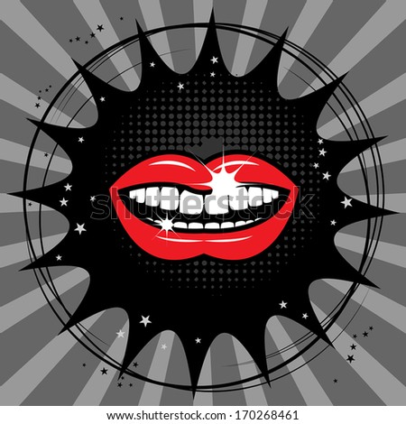 Open red lips abstract, vector illustration - stock vector