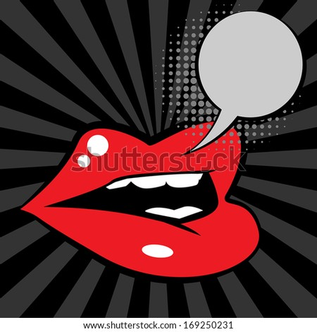 Open red lips, vector illustration - stock vector