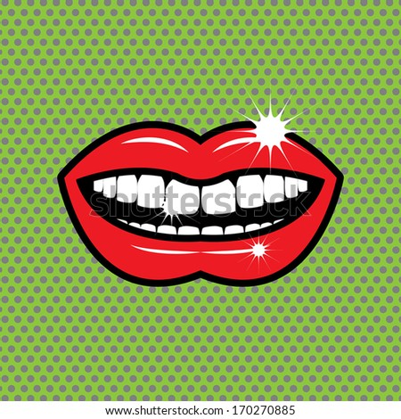 Open red lips with teeth, vector illustration - stock vector