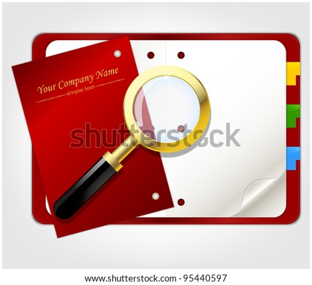 Open red organizer with marks and gold magnifier - stock vector