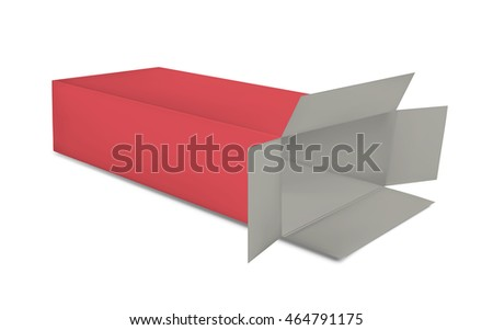 Open red paper box on white background