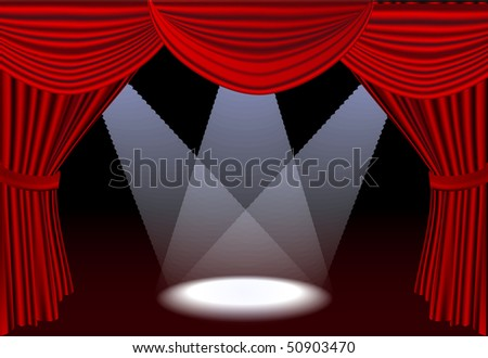Open red stage curtains with three spotlights - stock vector