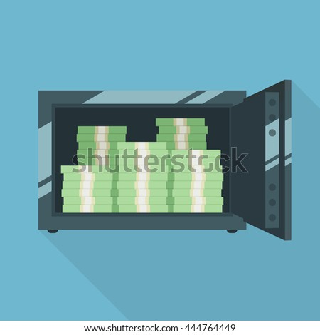 Open safe with money. Packs of banknotes. Simple, flat style. Graphic vector illustration. - stock vector