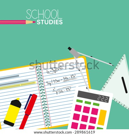 Open school ruler book. Math studies at school or at home with flat design elements. Vector and illustration design.