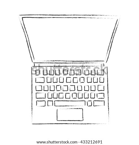Open screen laptop sketch vector illustration. Black and white. Top View monitor and keyboard. Laptop from above.