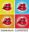 Open Sexy wet  red lips with teeth pop art set backgrounds - stock photo