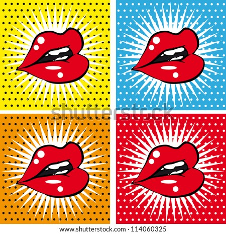 Open Sexy wet  red lips with teeth pop art set backgrounds - stock vector