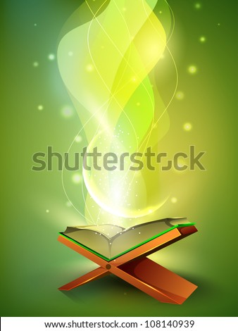 Open side of Holy Quran book on wood stand, over wave background. EPS 10. - stock vector