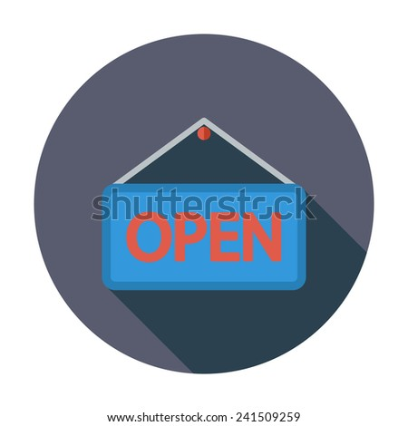 Open Sign. Single flat color icon. Vector illustration. - stock vector
