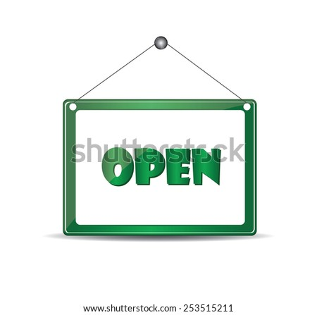Open signboard - stock vector