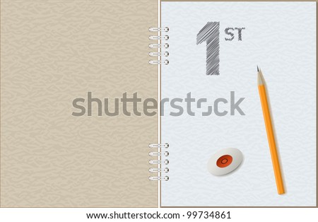 Open sketchbook with a sketch, a lead pencil and an eraser - stock vector