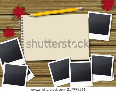 open sketchbook with pen and lots of photos on wooden table - stock vector