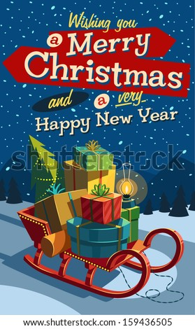 Open sleigh with bunch of gifts. Merry Christmas illustration. - stock vector