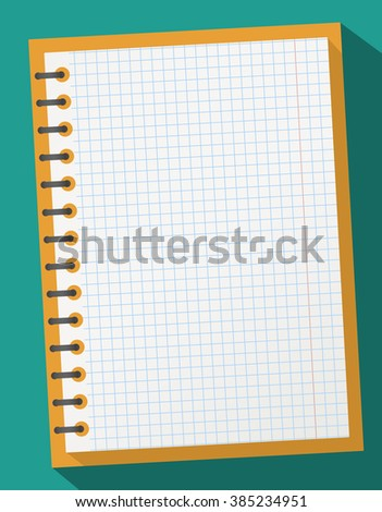 Open squared realistic notepad notebook with spiral and long shadow on gray background - stock vector