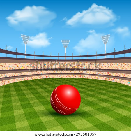 Open stadium of cricket with realistic red leather ball vector illustration - stock vector