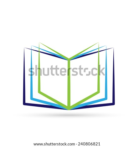 Open stylized book with blank space icon vector logo design - stock vector