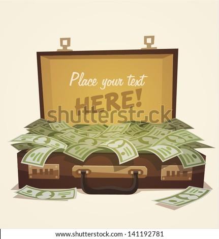 Open suitcase full of money, business illustration - stock vector