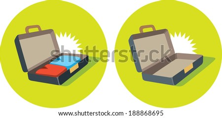 Open suitcase icon - stock vector