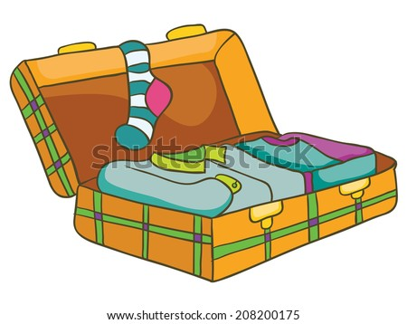 open suitcase with clothes, vector illustration on white background - stock vector