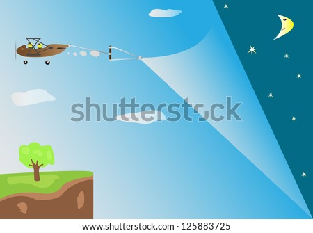 Open to the night by retro plane - stock vector