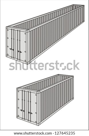 Open top/oversize/over-dimensional cargo container line drawing - international maritime trade black and white vector illustration (part 3) - stock vector