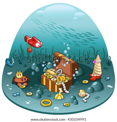 Open treasure chest with gold, coins, jewelry, pearls and goblet underwater surrounded by sea animals (isometric illustration)  - stock vector