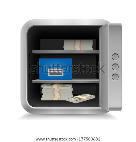 Open vault full of cash on white background - stock vector