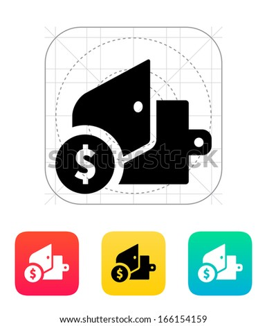 Open wallet with dollars icon on white background. Vector illustration. - stock vector