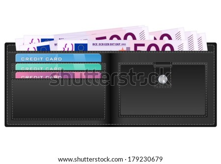 Open wallet with euro banknotes and credit cards. Vector illustration.