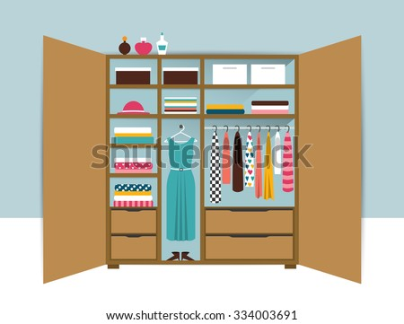 Open wardrobe. Wooden closet with tidy clothes, shirts, sweaters, boxes and shoes. Home interior. Flat design vector illustration. - stock vector