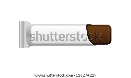 Open White Blank Foil Packaging Plastic Package Of Chocolate Bar. Sachet, Sweets Or Candy Pack. Ready For Your Design. Snack Product Packing Vector EPS10 - stock vector