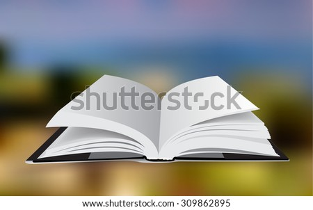 Open white book on color background  - vector illustration