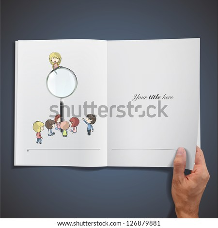 Open white book with kids around a magnifying glass. Vector design. - stock vector