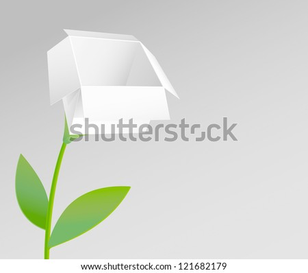 Open White Box as a Flower - stock vector