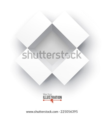 Open white box. Top view. Transportation concept. Vector illustration - stock vector