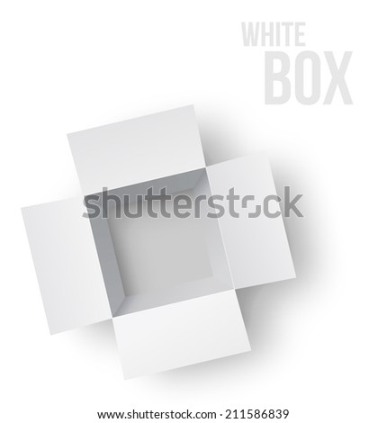 Open white box. Top view. Vector illustration - stock vector