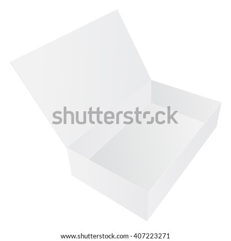 Open white box. Vector illustration isolated on white background