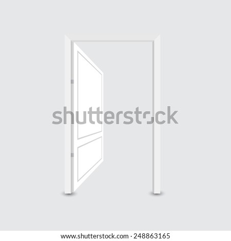 Open white door - stock vector