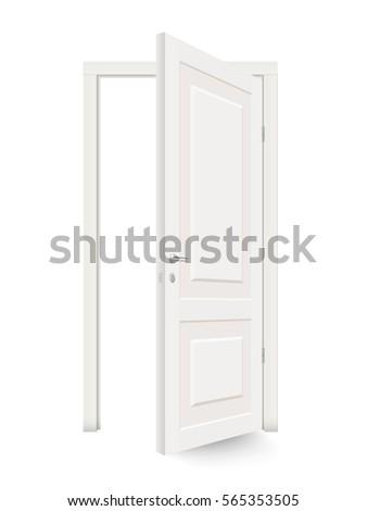 Plain Open White Door Isolated Realistic Vector Illustration On Design Ideas