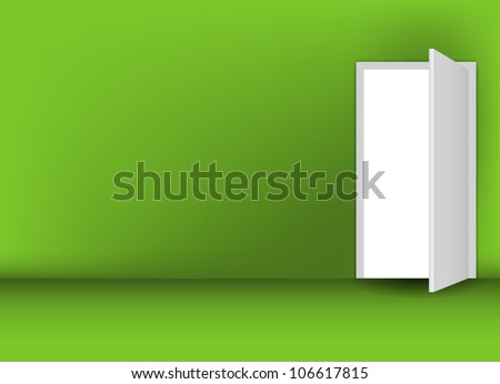 Open white door on a green wall vector illustration - stock vector