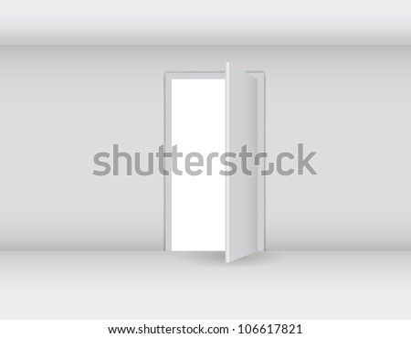 Open white door on a white wall vector illustration - stock vector