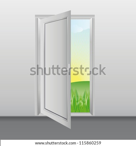 Open white doors with glass panels into the garden - stock vector