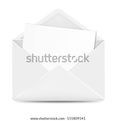 Open White Envelope With Paper With Gradient Mesh, Vector Illustration - stock vector
