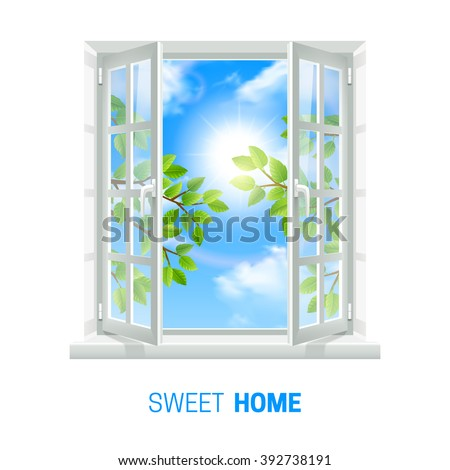 Open white window on bright sunny day realistic indoor view icon with green leaves outside vector illustration  - stock vector