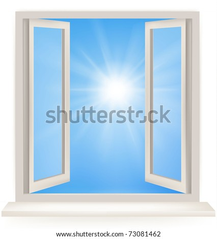 Open window against a white wall and the cloudy sky and sun. Conceptual shot of freedom and dreaming in real estate business. Vector - stock vector